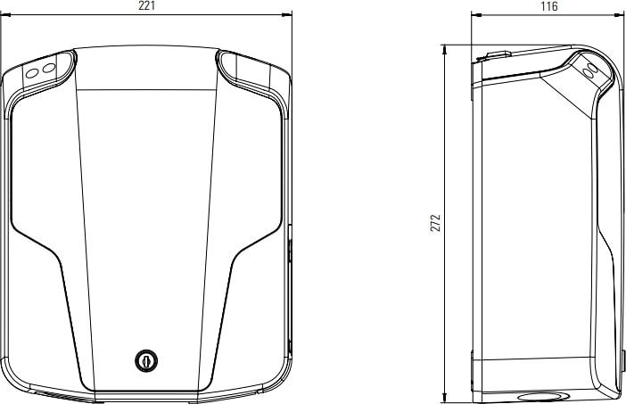 Technische Zeichnung der ABL eMH1 Wallbox