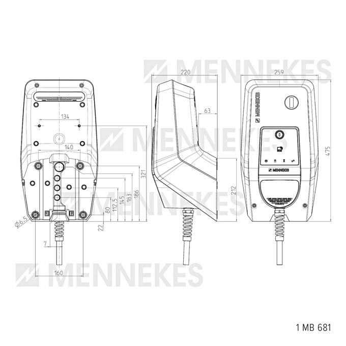 Technische Zeichnung der AMTRON Xtra 22 C2 Wallbox von Mennekes