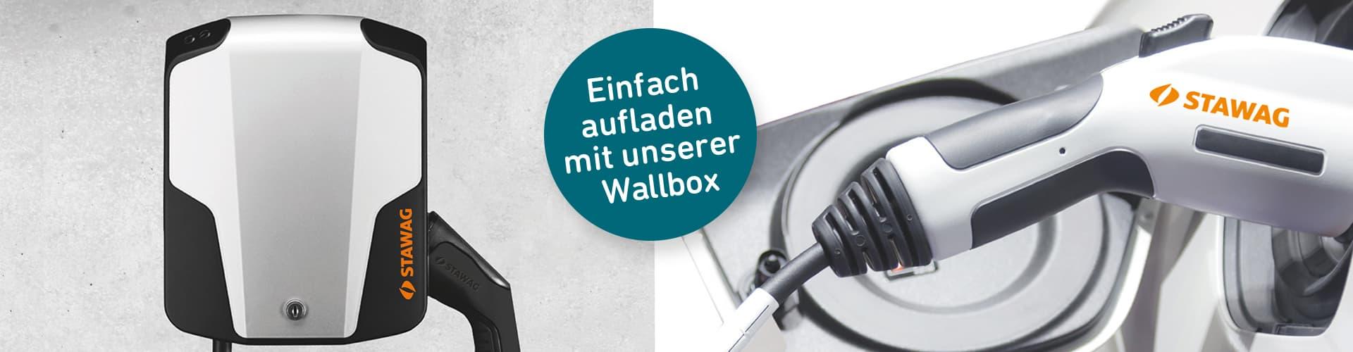 Wallbox mit Ladekabel mit Banner und STAWAG Print